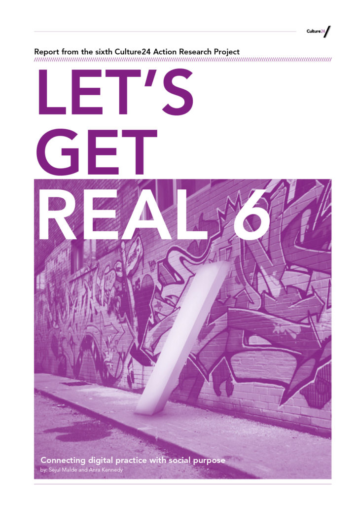 The front page of a pink report titled Let's Get Real 6: Connecting digital practice with social purpose