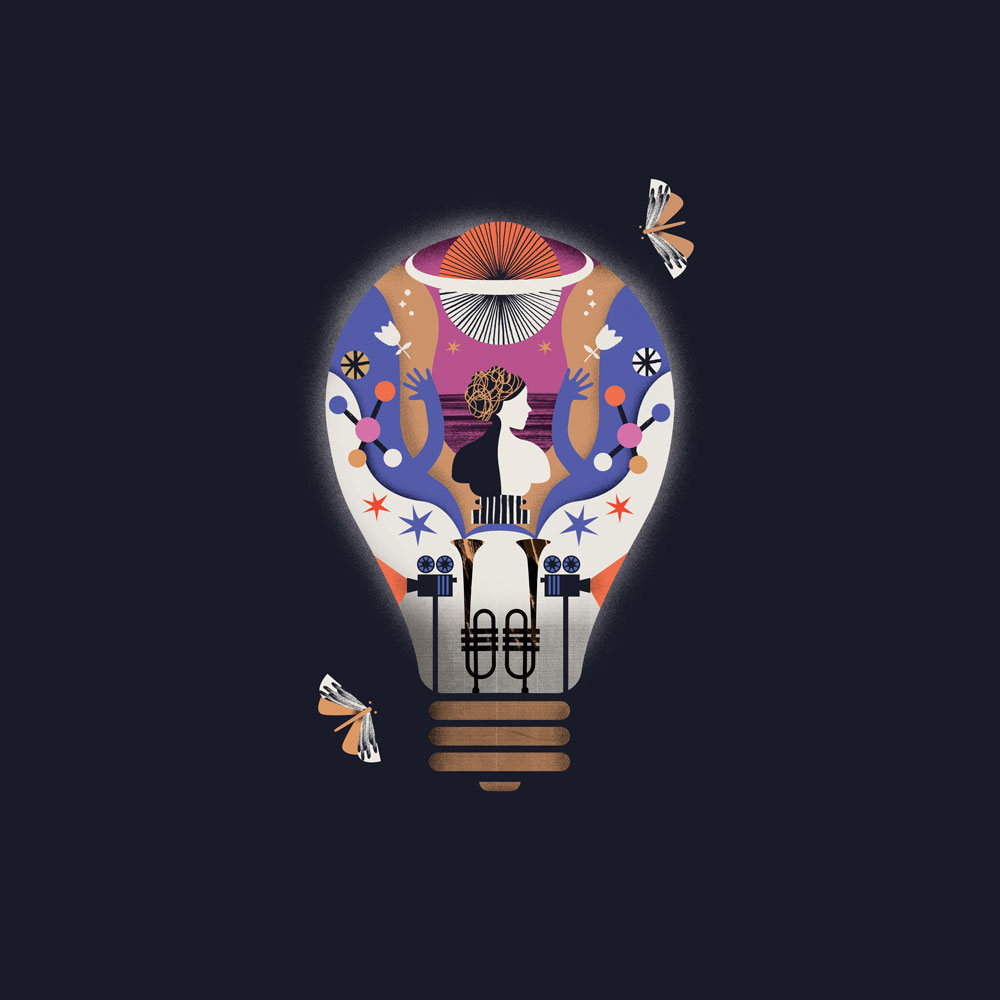 A design showing moths fluttering around a lightbulb full of interesting things