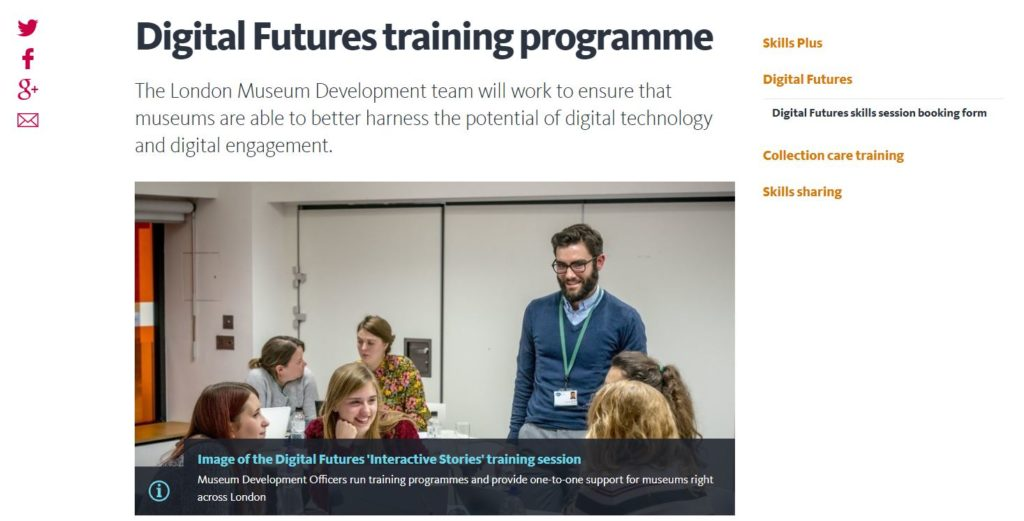 Screengrab of the Digital Futures training programme page on the Museum of London website