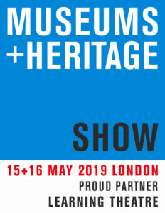 The 2019 Museums + Heritage Show logo with the words Proud Partner Learning Theatre