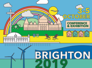 Cartoon of rainbow and museum building on the beach next to the sea. Reads Brighton 2019