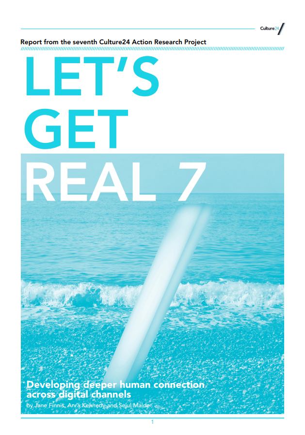 Sea rolling on the beach with Let's Get Real 7 as text overlayed on top