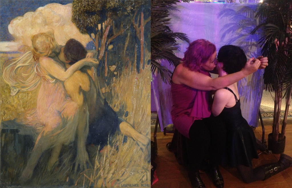 Couple recreating a painting of a couple kissing
